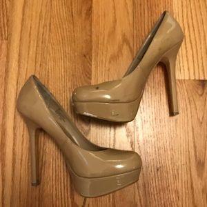 nude platform patent leather heels